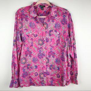 Lauren Ralph Lauren Floral Button Down Shirt Sz XL